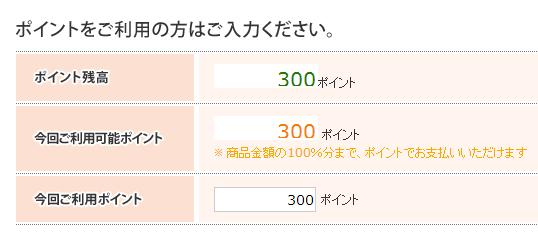 300円分のポイント利用